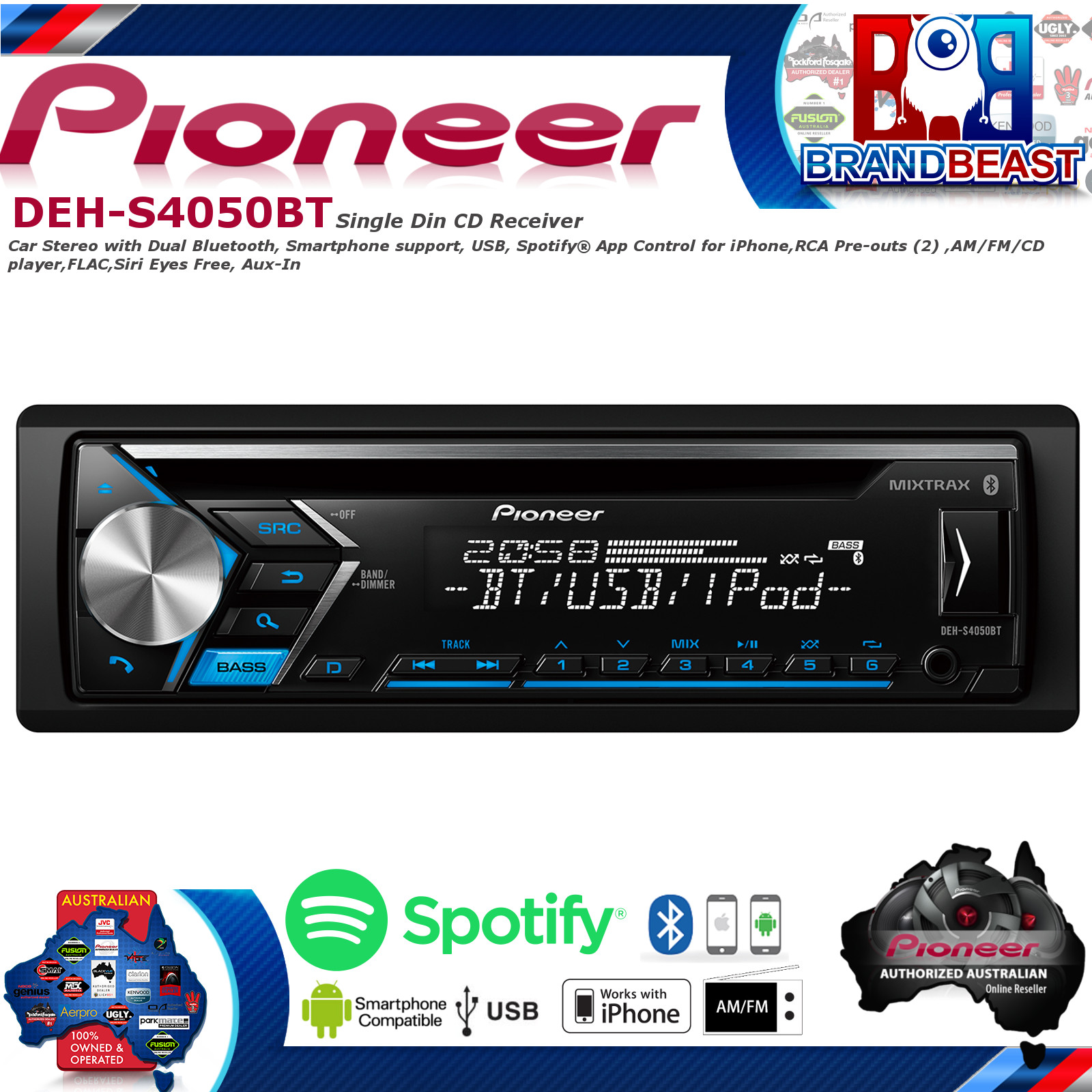 Pioneer car audio in dash units ebay new pioneer deh s4050bt aux usb iphone android bluetooth car stereo dehs4050bt fandeluxe Choice Image