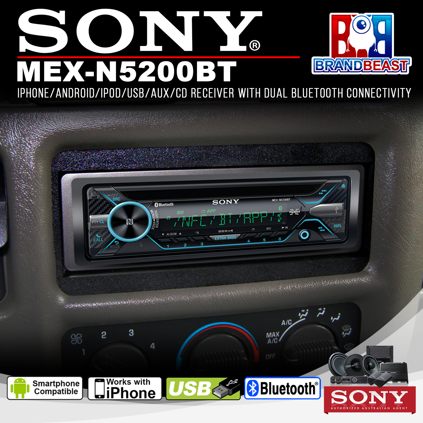 sony mex n5200bt cd player with bluetooth voice control. Black Bedroom Furniture Sets. Home Design Ideas