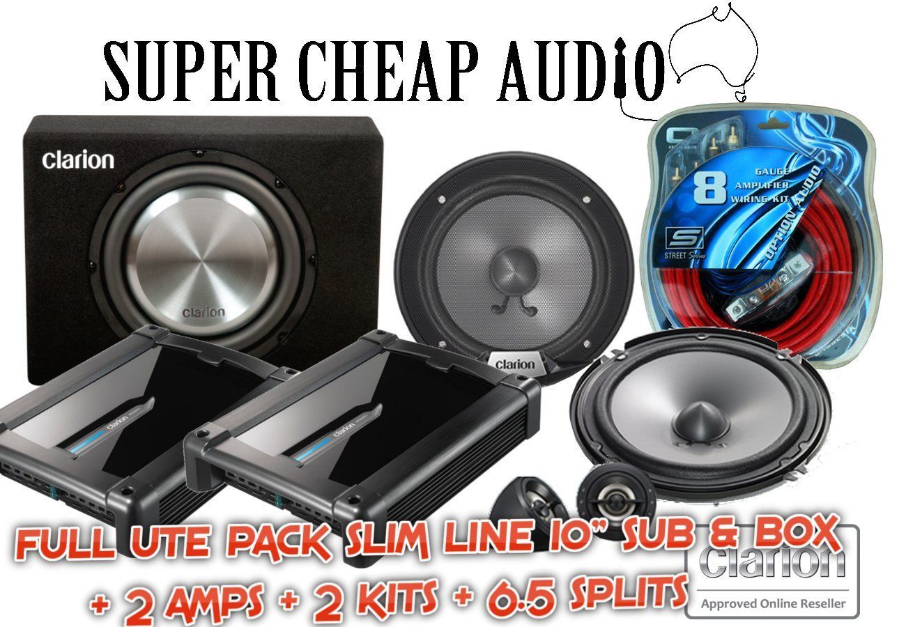 Clarion Car Audio Stereo Ute Pack 10 900w Slim Sub 350w 65 Splits Wiring Kit For Subs Box Srg1623s Xr2210 X 2 Kits